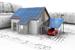 Modell: Haus und Carport mit PV-Anlage